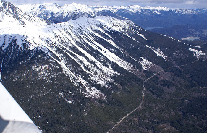Green Mt avalanche zones on the Hurley in 2011.  Photo by Frank W Baumann
