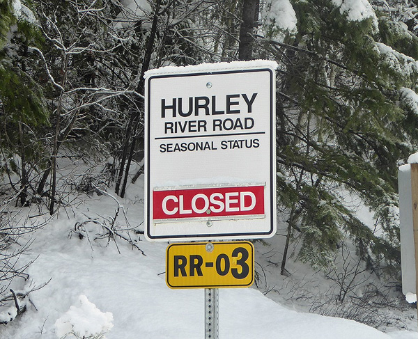 The Hurley is closed to vehicles for the season