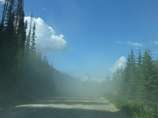 Dust cloud from semi truck