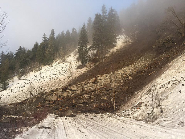 Road closed due to rock slide