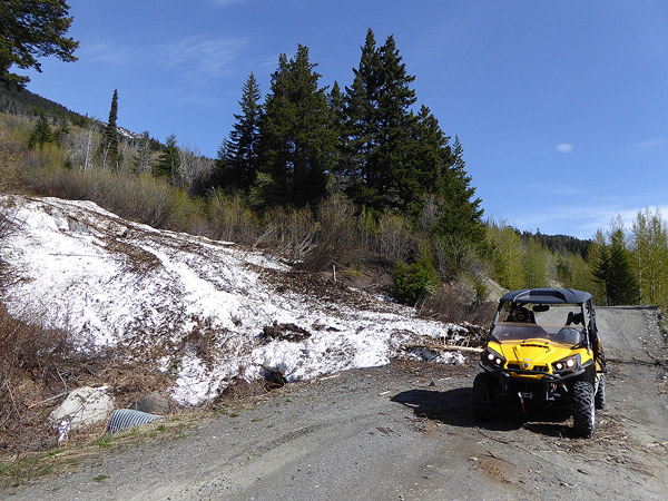 Avalanche debris from the February slide off Green Mt